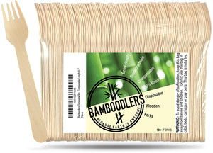 Bamboodlers Disposable Wooden Forks; Eco-Friendly and BPA-Free Alternative to Disposable Plastic Forks. 100% All-Natural, Biodegradable, Compostable, and Renewable. Bamboodlers - because Earth is awesome!