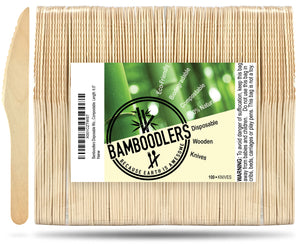 Bamboodlers Disposable Wooden Knives; Eco-Friendly and BPA-Free Alternative to Disposable Plastic Knives. 100% All-Natural, Biodegradable, Compostable, and Renewable. Bamboodlers - because Earth is awesome!
