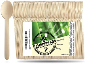 Bamboodlers Disposable Wooden Spoons; Eco-Friendly and BPA-Free Alternative to Disposable Plastic Spoons. 100% All-Natural, Biodegradable, Compostable, and Renewable. Bamboodlers - because Earth is awesome!