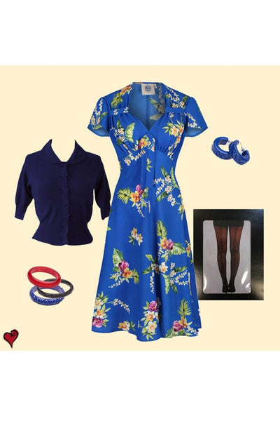 40s Blue Floral Tea Dress Look
