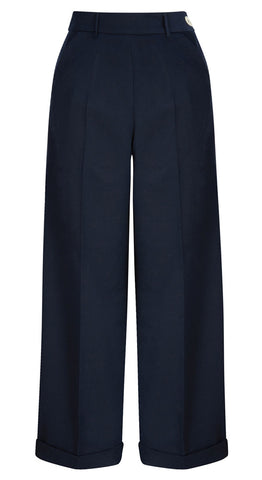 1940s Style High Waisted Wide Leg Trousers in Navy
