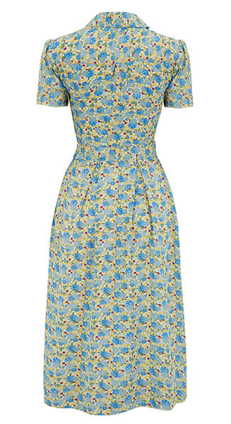 1940s Katherine Yellow Floral Shirt Dress from Weekend Doll back view
