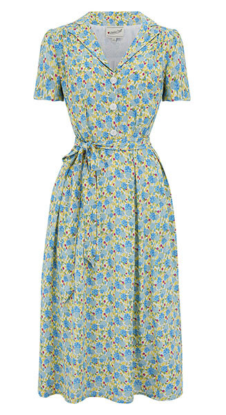 1940s Katherine Yellow Floral Shirt Dress from Weekend Doll front view