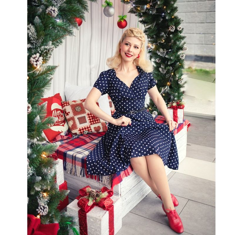 Retro Navy Polka Dot Tea Dress | 1940s & 50s Style