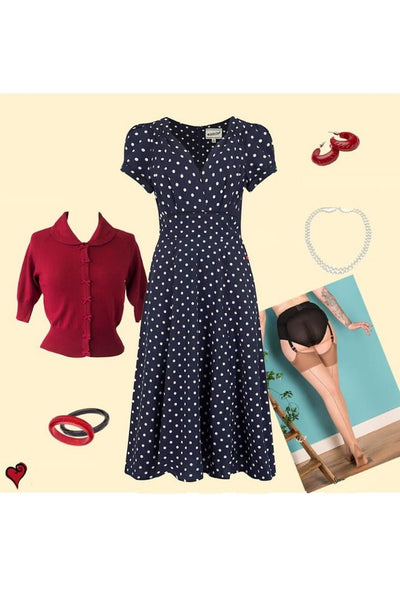 Vintage Navy Polka Dot Dress Look