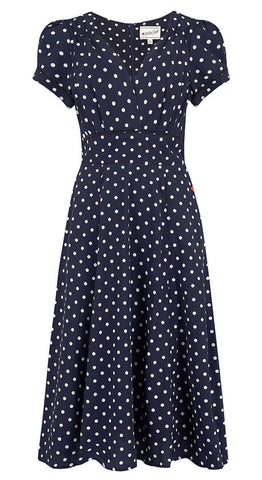 1940s style Ava Tea Grey Polka Dot Dress | Weekend Doll