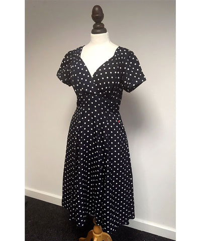 1940s inspired navy polka dot knee length tea dress