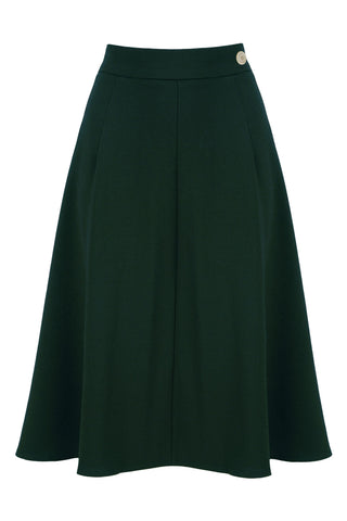 1940s Style Classic A line Crepe Skirt in Bold Green | Weekend Doll
