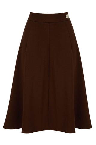 1940s Style Classic A line Crepe Skirt in Brown | Weekend Doll