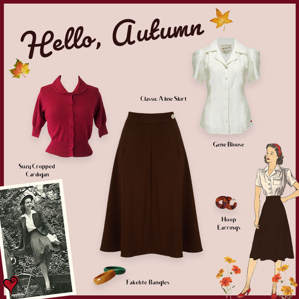 1940s style classic aline skirt outfit idea
