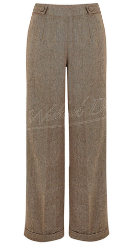 Vintage Style High Rise Herringbone Brown Trousers