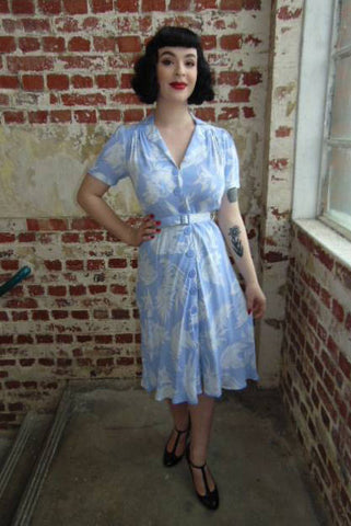 Hawaiian Belted Shirt Dress by The Seamstress Of Bloomsbury - 1940s | Weekend Doll