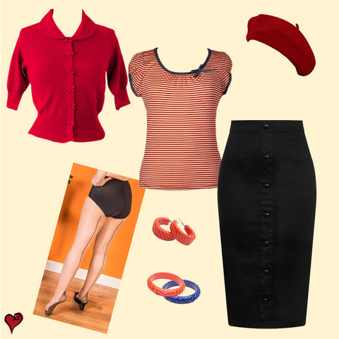 Retro 1950s Pencil Skirt Outfit | Weekend Doll