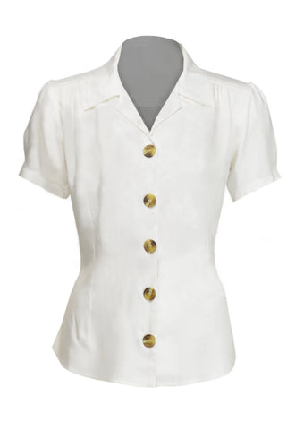 1940s Style Ivory Half Sleeve Blouse | Weekend Doll