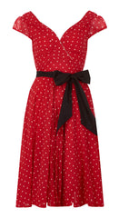 Red & White Polka Dot Chiffon Swing Dress by Eucalyptus -1950s | Weekend Doll