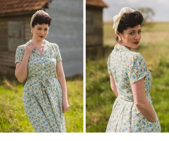 Sustainable viscose 1940s Style Katherine floral print shirt dress_Weekend Doll