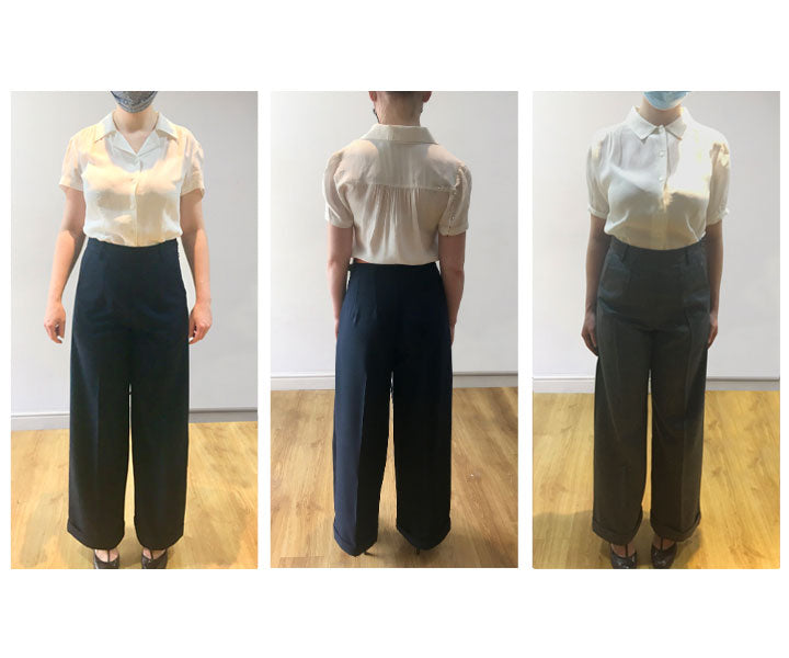 30s and 40s classic wide leg high waisted trousers