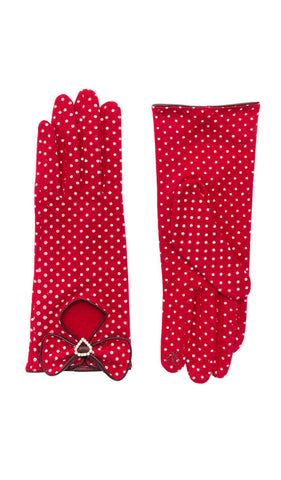 Retro Style Red Polka Dot Gloves Weekend Doll