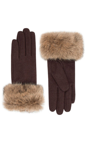 Vintage Style Fur Trim Brown Wool Gloves Weekend Doll
