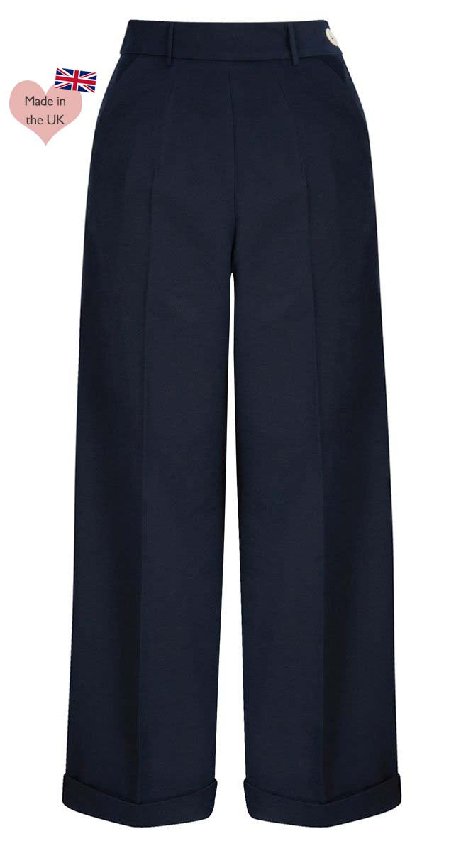 1930s and 40S Classic High Waist Wide Leg Trousers