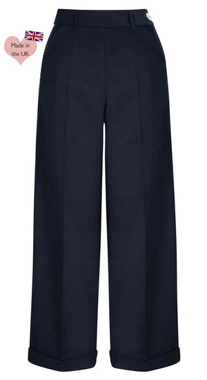 1940s Style Clothing & 40s Fashion 1930s and 40S Classic High Waist Wide Leg Trousers £65.00 AT vintagedancer.com