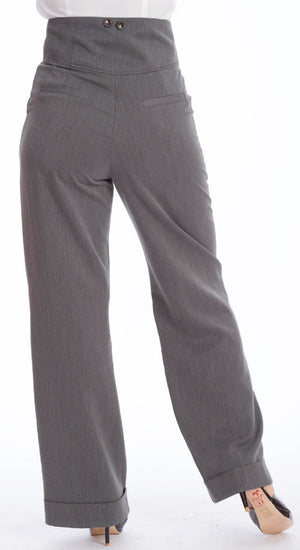 1930s Style High Waisted Wide Leg Trousers In Grey | 1940Style | Weekend Doll