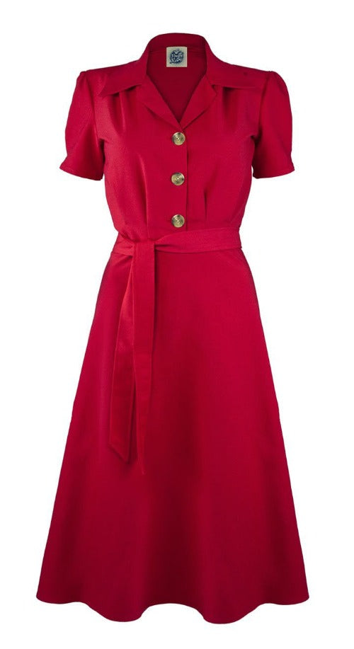 Vintage 1940s Style Red Shirt Dress | Pretty Retro | Weekend Doll