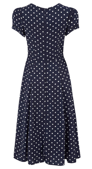 Ava Navy Polka Dot Tea Dress | 1940s & 1950s Style | Weekend Doll
