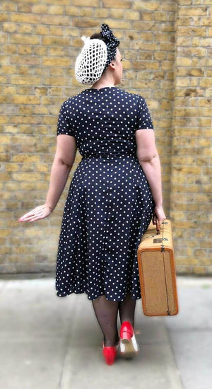 Ava Navy Polka Dot Tea Dress