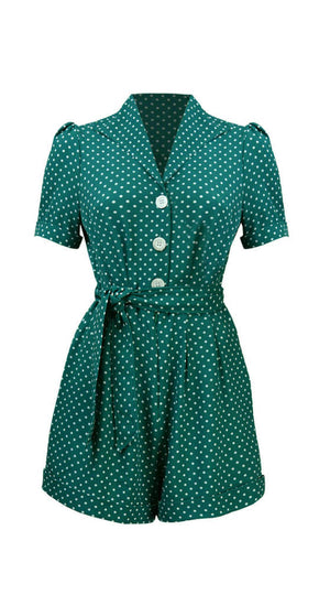 Retro Button Down Playsuit in Green Polka Dot   | 1940 & 1950s Style | Weekend Doll