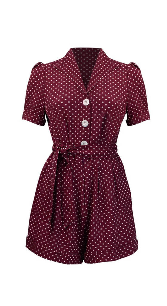 Vintage Inspired Button Down Playsuit in Wine Polka Dot   | 1940 & 1950s Style | Weekend Doll