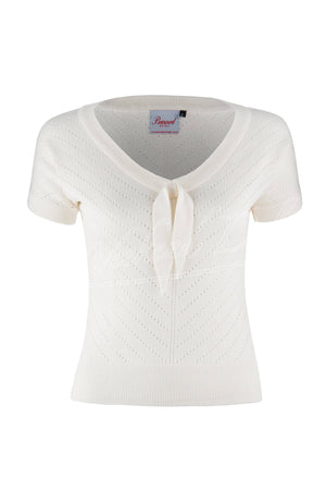 Retro Pointelle Knit Bow Short Sleeve Top In White  | 1940s & 50s Retro Sailor Style | Weekend Doll
