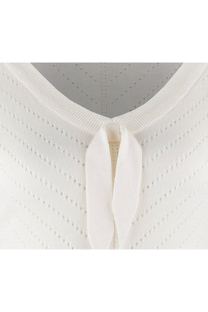 Retro V-neck Bow Pointelle Top in Cream