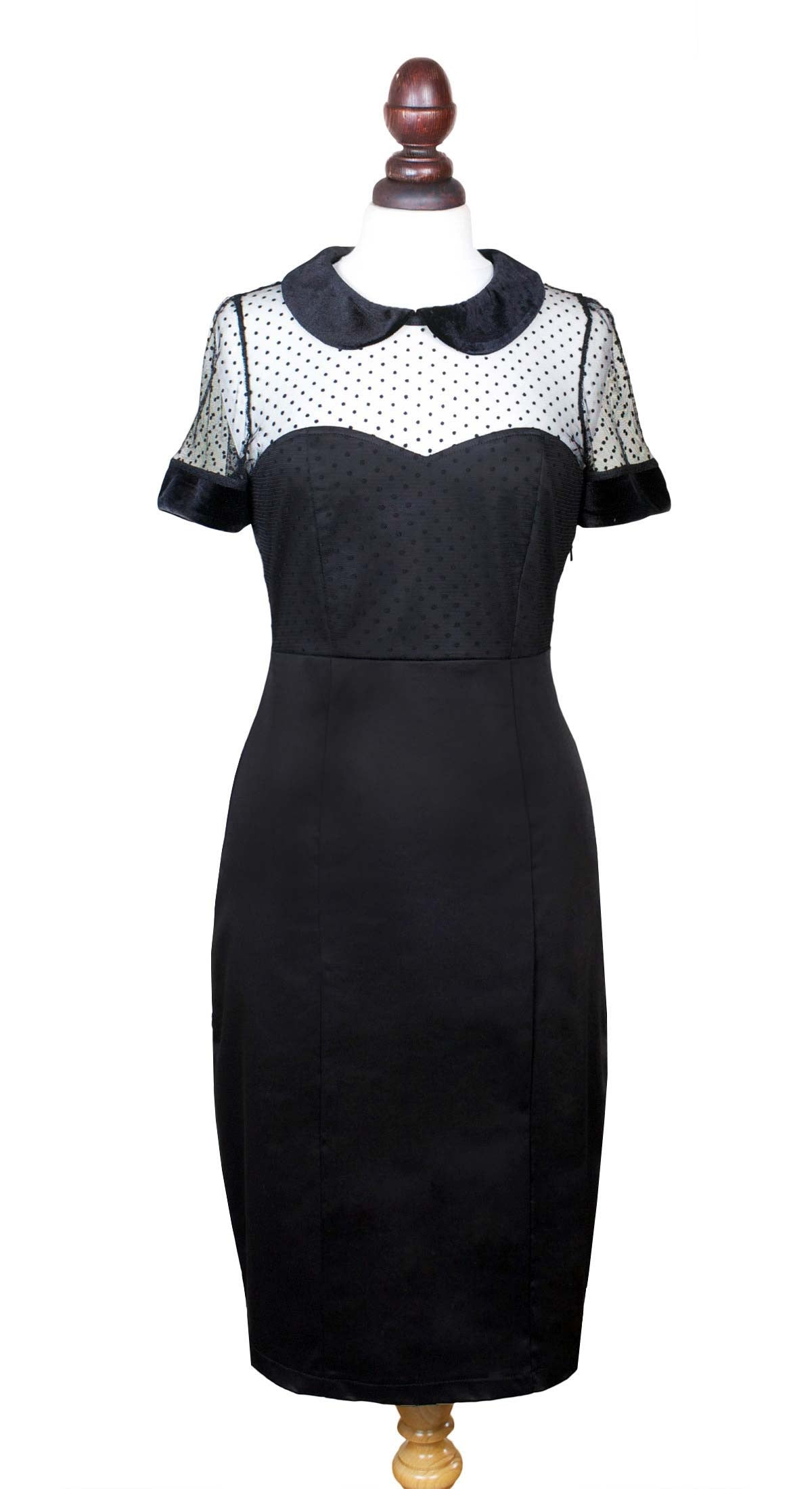 Adele Black Peter Pan Collar Dress - Weekend Doll