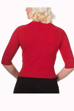 Suzy Cropped Dark Red Cardigan - Weekend Doll