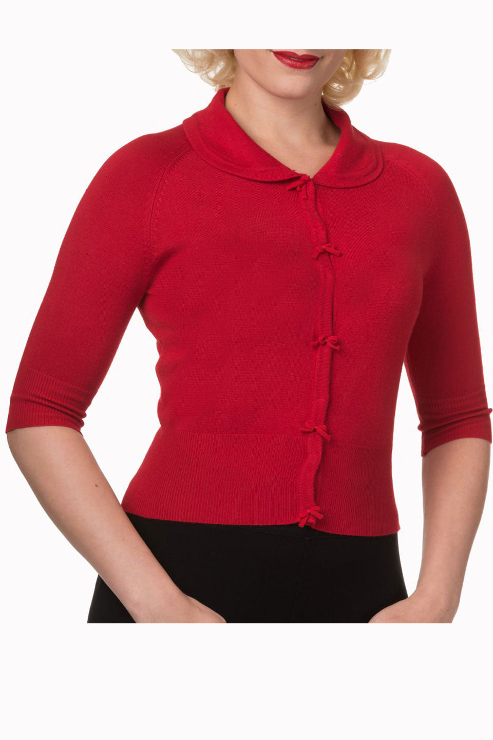 Suzy Cropped Red Cardigan