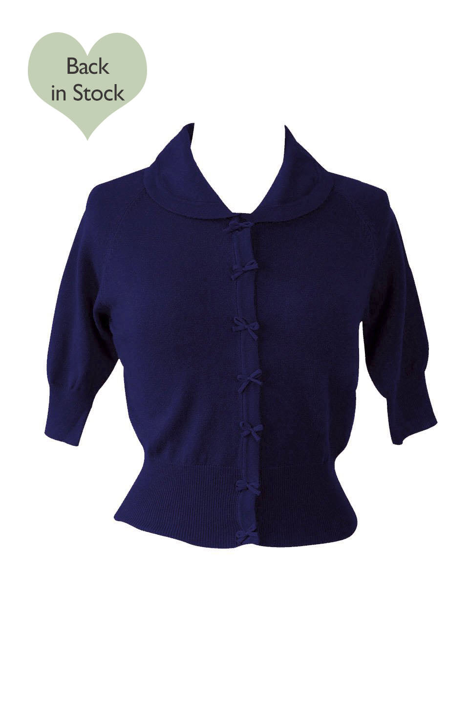 Cropped Navy Cardigan Sweater With Bow Details -1950s style | Weekend Doll