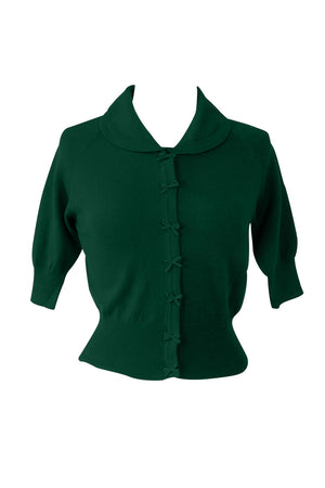 Suzy Cropped Green Cardigan