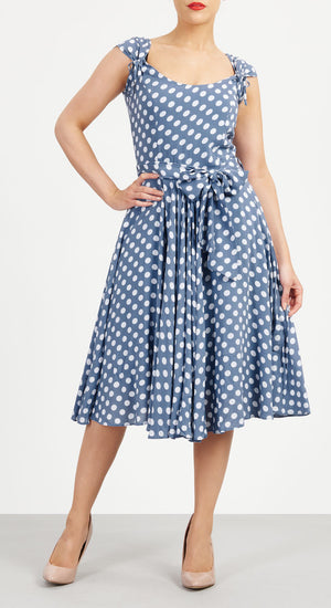 Aya Blue And White Polka Dot Dress - Weekend Doll