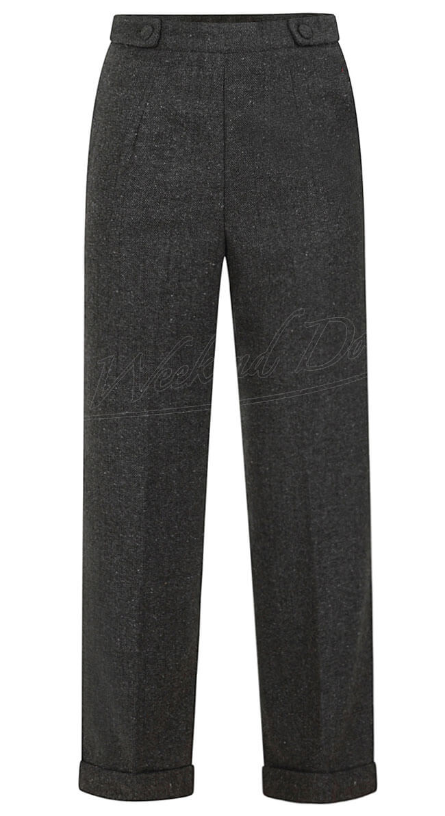 40s Button Side Herringbone Trousers in Grey