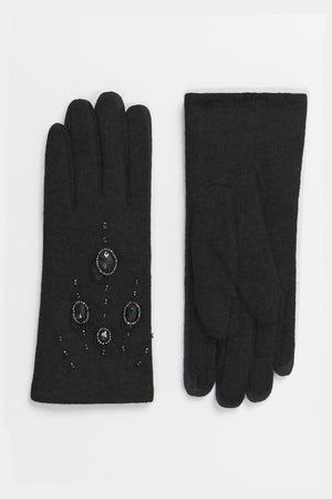 60s style embellished wool gloves in black | Weekend Doll