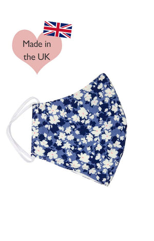 Pretty Vintage Style Navy Floral Cotton Face Mask | Made In The UK | Weekend Doll