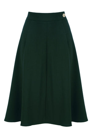 1940s Teenage Fashion: Girls Classic 1940s Style A-Line Skirt in Forest Green £54.00 AT vintagedancer.com