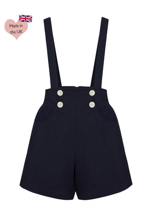 1930s Wide Leg Pants and Beach Pajamas Detachable Brace Sailor Style High Waisted Shorts in Navy £49.00 AT vintagedancer.com