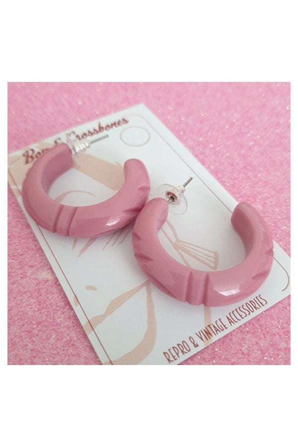 Elsie Hoop Earrings Dusty Pink  | 1940s & 1950s Style | Weekend Doll