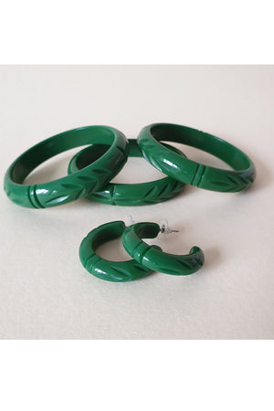 Elsie Hoop Earrings - Green |  1940s & 1950s Style | Weekend Doll