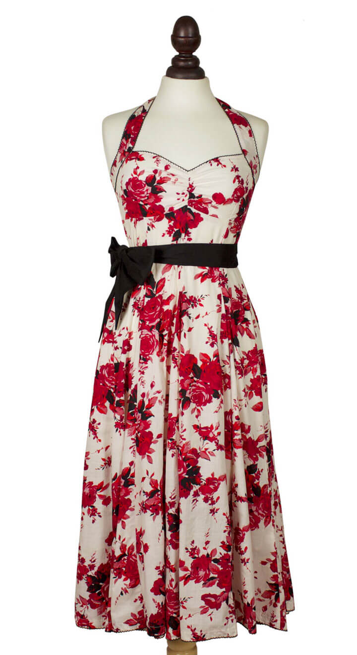 English Rose Floral Halter Neck Dress - Weekend Doll