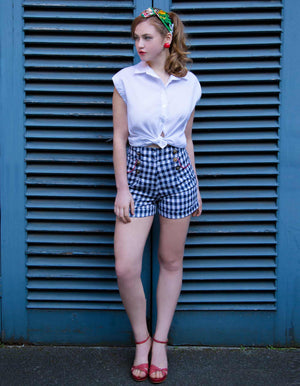 Gingham Blue and White Checked Shorts - Weekend Doll