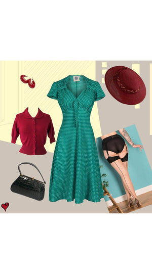 1940s Style Tea Dress in Green Polka Dot  | Weekend Doll