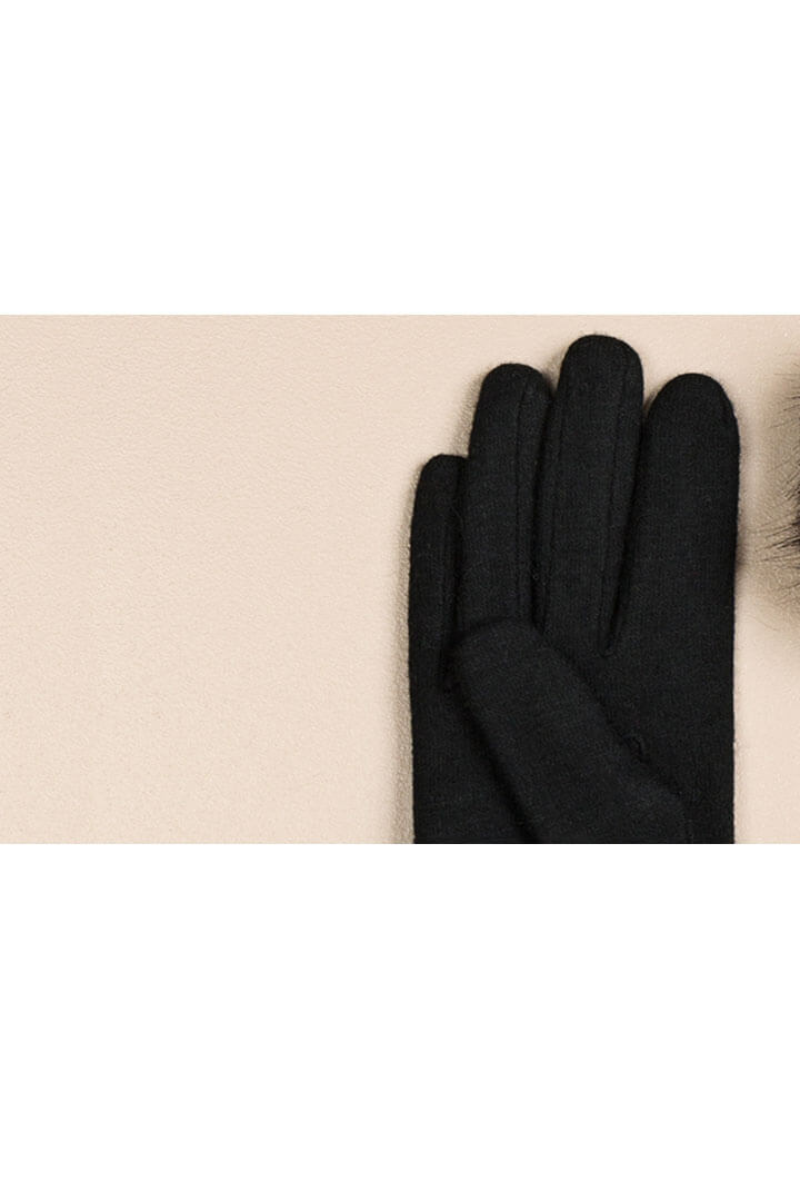 Vintage style black wool gloves with fur trim | Weekend Doll
